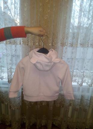 Свитшот(кофта) розовый (флис) р.92-98(2-3года)
