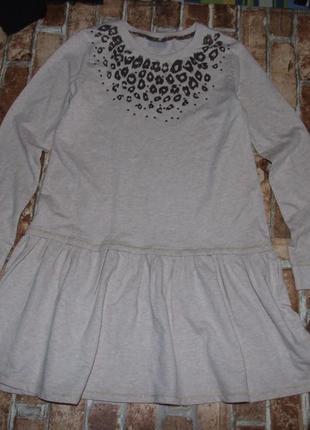 Теплое платье с рукавом 13 лет двунить matalan