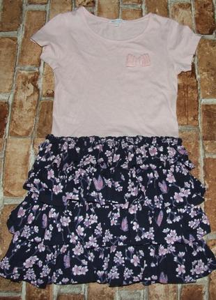 Хлопковое трикотажное платье 8-9 лет bluezoo