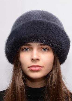 Женская зимняя норковая шляпа роза баклажан