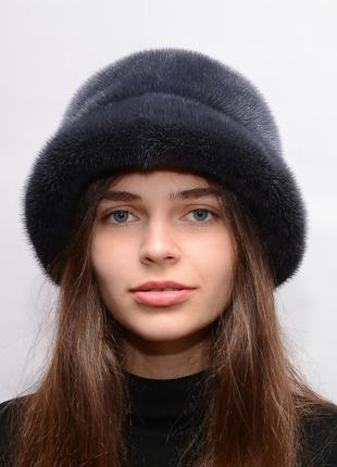 Женская зимняя норковая шляпа чарли темный ирис