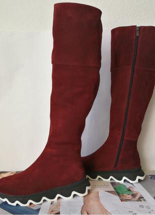 Осенние женские замшевые шикарные ботфорты Mante crazy цвет марса