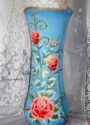 ваза с ручной росписью* Розы*