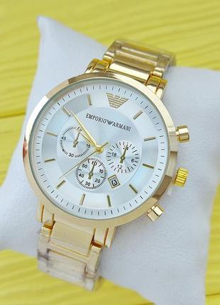 Качественные мужские наручные часы золотистые с серебряным циф...