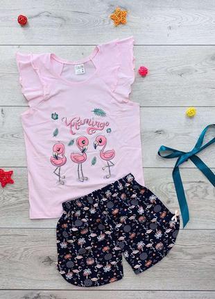 Трикотажный домашний комплект для девочки. пижама шорты и футб...