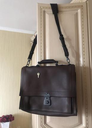 Стильный дорогой кожаный портфель мужская сумка, натуральная кожа