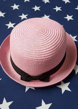 Шляпа женская летняя котелок розовая