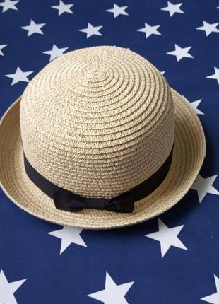 Шляпа женская летняя котелок кремовая