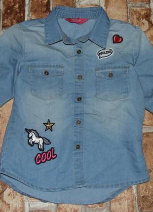 Джинсовая рубашка с нашивками young dimension 6-7 лет
