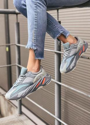 Adidas yeezy boost 700 inertia grey  женские стильные кроссовки