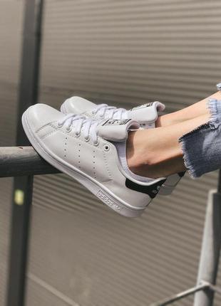 Adidas stan smith white black мужские стильные кроссовки