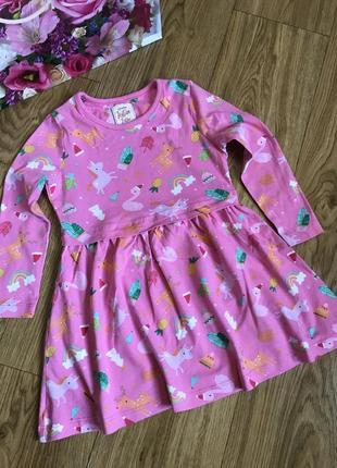 Красивое натурально хлопковое платье 2-3 года