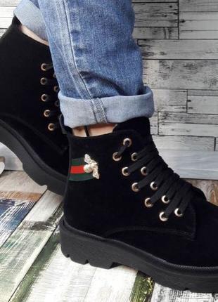 Gucci стильные кожаные черные ботиночки весна осень 2020! из нату