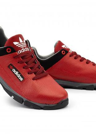 Подростковые кроссовки кожаные весна/осень красные-черные crossav
