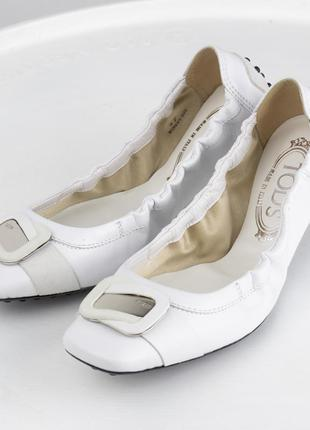Белые кожаные балетки tod's оригинал