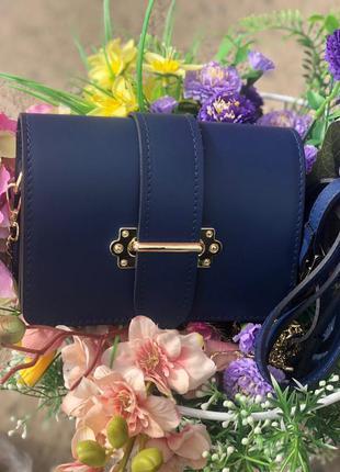 Кожаная сумочка в стиле prada женская сумочка на пояс синяя ит...