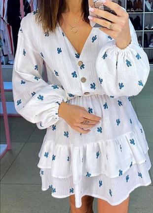 Лёгкое белое хлопковое мини платье. летнее короткое платье из ...