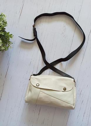Шкіряна бежева сумка кожаная сумка