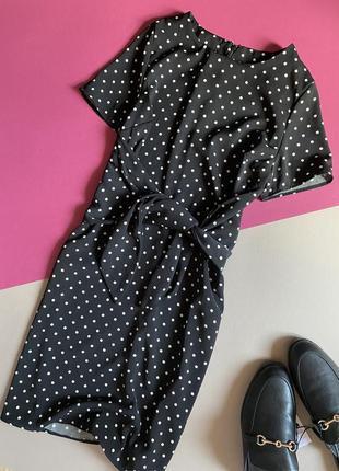 Платье в горошек с завязками new look