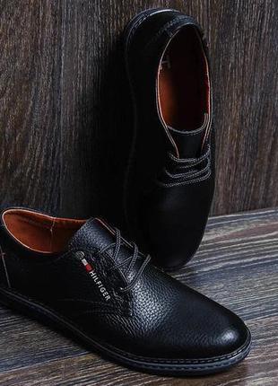 Мужские кожаные туфли tommy hf  д7