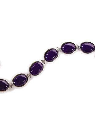 [20 см] Браслет женский Агат фиолетовый 6 камней овал на Тогл