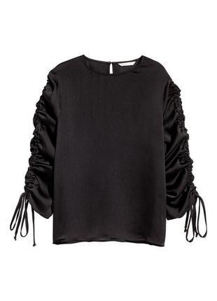 Изящная черная блузка с кулисками h&m