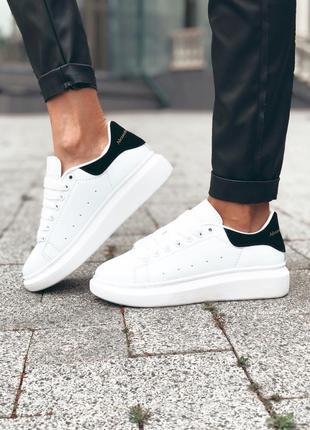 Alexander mcqueen white black ✰ женские кожаные кроссовки ✰ бе...