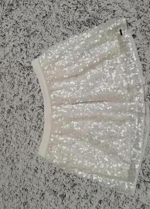 Юбка белая, юбка в пайетках hollister