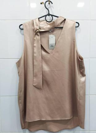 Шикарная блуза блестящая розовое золото с чокером