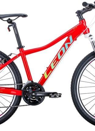 Велосипед 26″ Leon HT-LADY 2020 (красный с салатовым и бирюзовым)