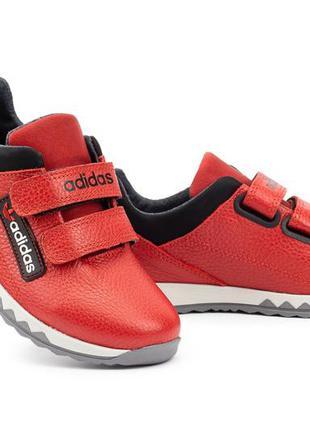 Детские кроссовки кожаные весна/осень красные-черные crossav