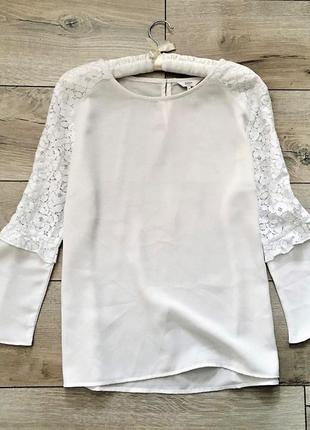 Біло-молочна блуза з мереживом cotton  club,p.eur 42