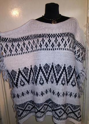 Тёплое,мягкое пончо-накидка,свитер в этно-бохо стиле,большого ...