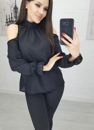 Черная блузка женская летняя с открытыми плечами полупрозрачная