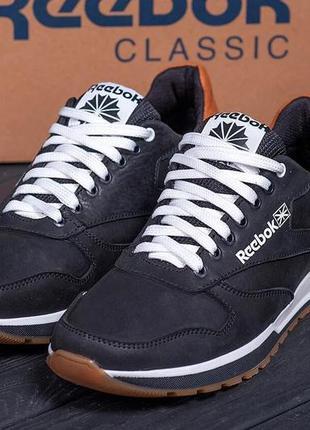 Мужские кожаные кроссовки reebok classic leather trail black r...