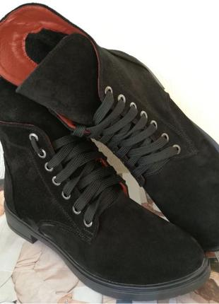 Pepe! Женские замшевые кожаные полу ботинки на низком ходу со зме