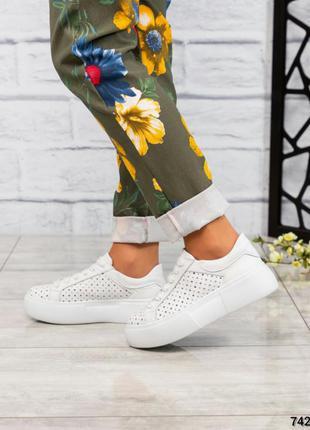 ❤ женские белые кожаные кроссовки  с перфорацией❤