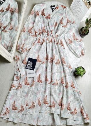 Новое макси миди платье листья на запах с поясом 😍