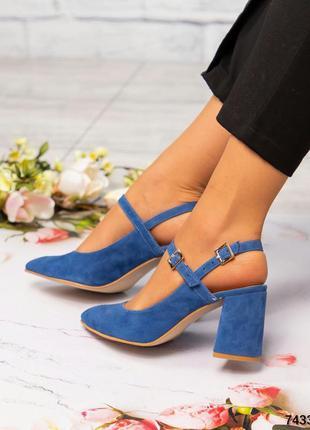 ❤ женские голубые замшевые туфли ❤