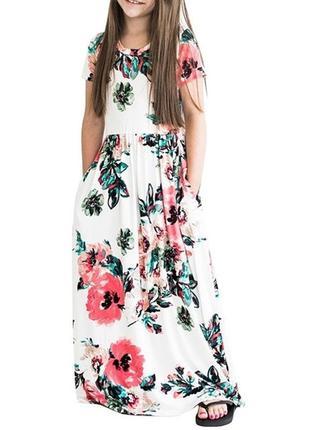 Стильный длинный летний сарафан платье