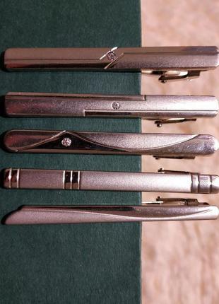 Комплект из 5 зажимов заколок для галстука серебряного цвета п...