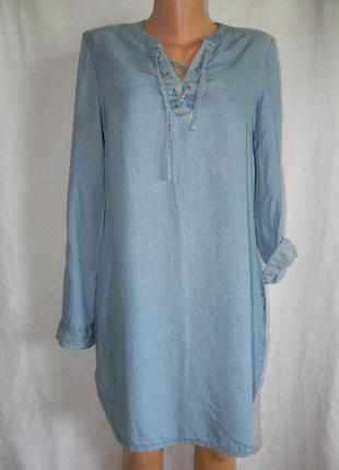 Легкое стильное джинсовое платье f&f