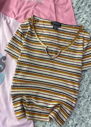 Укороченная футболка в лапшу, рубчик в полоску primark
