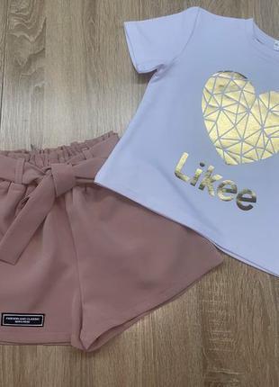 Хит!!! костюм для девочки, шорты и футболка likee