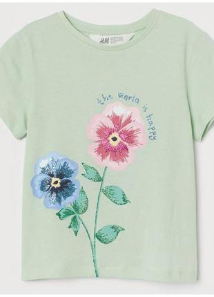 H&m футболка цветы для девочки
