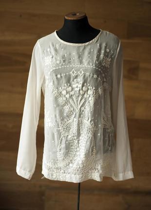 Красивенная белая блуза с белой вышивкой falmer heritage, разм...