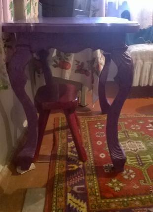 Стол кухонный готика шебби-шик фиолетовый дерево