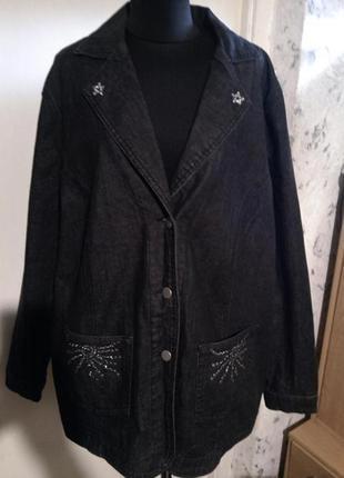 Стрейч-джинсовая,стильная куртка-жакет с карманами,стразами и ...