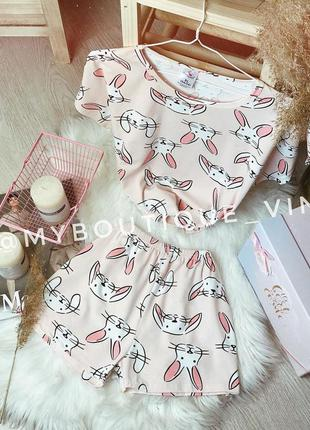 🔝 пижама зефир 😎 футболка + шорты