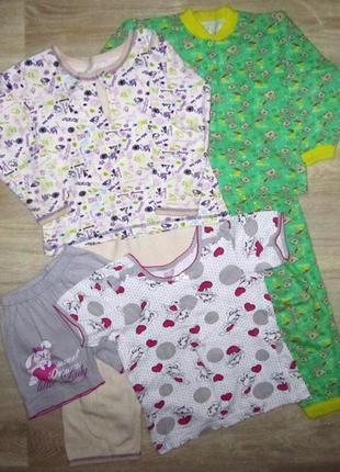 Пижама для девочек 2-5 лет микрофлис интерлок летняя натуральн...